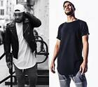 Men's Basic Extended Long T- Shirt Lot Elongated Tee Hipster Harlem Hip Hop