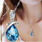 Внешний вид - Women's Fashion Silver Chain Crystal Rhinestone Pendant Necklace Jewelry Gift