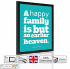 TURQUOISE FAMILY QUOTE WOOD WOODEN PICTURES FRAMES CANVAS WALL ART PRINTS FRAMED