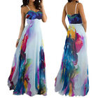Women Prom Long Maxi Strapless Printed Evening Party Gown Cocktail Dresses