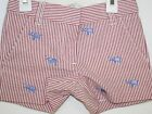 J Crew Crewcuts Shorts Girls Red White Striped with Blue Elephants Size 5 New