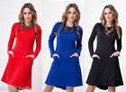 NEW * Lovely Women Long Sleeves Dress * Crew Neck Tunic Party Size 8-18