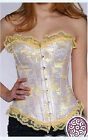 Sexy Yellow Brocade Floral Lace Corset Buster L
