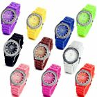 Casual Rhinestone Jelly Gel Silicone Band Quartz Analog Wrist Watch Women Girls