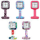 Printed Square Silicone Quartz Pin Flower Nurse Watch Brooch Tunic Fob Watch New image