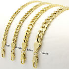 Mens 14kt Yellow Gold Plated Width 5 6 8 10mm Concave Cuban Link Chain Necklace