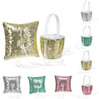 Sequin Crystal Flower Girl Basket Ring Pillow Set for Wedding Party Decoration