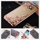Luxury Flower Glitter Bling Silicone Rubber Soft Clear Case Cover For Cell Phone
