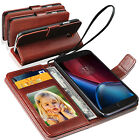 Motorola Moto G4 Plus - Genuine Lauxary Leather Antique Wallet Flip Case Cover
