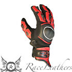 RS MOTOHART RED SHORT CUFF LEATHER TEXTILE ENDURO MOTORCYCLE MOTORBIKE GLOVES