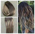 Ombre Balayage One Piece Clip-in Long Straight Remy Human Hair Extensions Brown