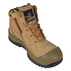 Mongrel 461050 Work Boots Steel Toe Safety. Wheat, Zip Scuff Cap Australian Made