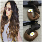 "Clip in Human Hair Extensions 18"" 120g Ombre colors Natural Hair Black Blonde"