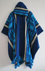 Llama Man Cape Poncho Wool Blue Hood Men Coat Jacket Mens - Handmade in Ecuador