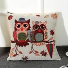 Cotton Linen Owl/Cat Pillow Case Sofa Waist Pillowcases Throw Cushion Cover Home