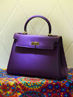 NEW Milan Soft Sapphire Purple Italian Leather Satchel Tote Bag (GHW) 28CM, 32CM
