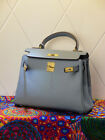 NEW Milan Soft Powder Blue Italian Leather Satchel Tote Handbag (GHW) 28CM, 32CM