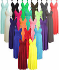 A140 Womens Ladies Sleeveless Plain Flared Stretch Spring Coil Jersey Long Maxi
