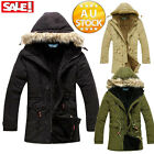 Mens Thick Long Parka Jacket Coat Overcoat Casual Slim Fit Trench Winter Warm