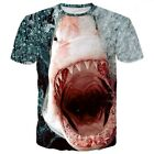 Fashion Women's Men's Funny Shark 3D Print Casual T-Shirt Round Tops Plus Size