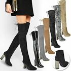 New Womens Ladies Thigh High Boots Over The Knee Stretch Block High Heels Size