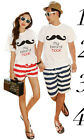 New 2 pcs Men Women Couple t-Shirt Tops  Summer Fashion Clothes Casual Printed