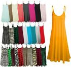 WOMENS LADIES PLUS SIZE CAMI STRAPPY SLEEVELESS PRINT LONG SWING DRESS VEST TOPS