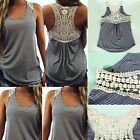 Fashion Sexy Women Summer Lace Vest Top Sleeveless Casual Tank Blouse T-Shirt