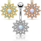 Small Flower w/ Opal Center Crystal Paved Petals Belly Button Ring Pierced Navel