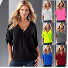 Ladies Womens T-Shirts Tank Tops Short Sleeve Shirts V-Neck Casual Summer Blouse