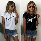Women Summer T-Shirt Short Sleeve Blouse Letter Tee Tops Casual Blue Round Neck