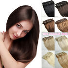 "15"" 16"" 18"" 20"" Clip In Full Head 100% Natural Human Hair Extensions Black Blond"
