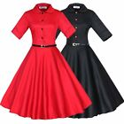 Women Vintage 50'S 60'S Rockabilly Dress Retro Cocktail Party Housewife Dress
