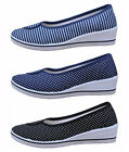 Women Nurse Nursing Shoes Canvas Wedge Polka Dots Striped Comfortable US 4.5-8.5