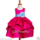 FUCHSIA/SKY BLUE NEW WEDDING PICK UP FLOWER GIRL DRESS 6M 12M 18M 2 4 6 8 10 12