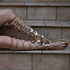 tall gladiator Sandals knee high flat toe ring lace up leather Roman Greek
