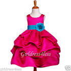 FUCHSIA/TURQUOISE PICK UP WEDDING FLOWER GIRL DRESS 6M-12M-18M 2 4/4X 6 8 10 12