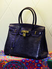 NEW Milan Deep Purple Lizard Effect Italian Leather Tote Handbag (GHW) 30CM 35CM