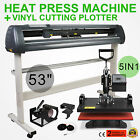 "5in1 Heat Press Transfer Kit 53"" Vinyl Cutting Plotter T-Shirt Cutter Printer"