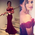 Mermaid Off Shoulder Evening Dress Long Chiffon Formal Appliques Prom Party Gown