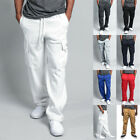 Mens Fleece Cargo Pocket Sweat Pants With Drawstring