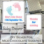 Personalised DIY Baby Shower Silver Milk Chocolate Square Favours Pink & Blue