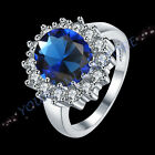 Luxury Platinum Plated Dark Blue Cubic Zirconia Ring
