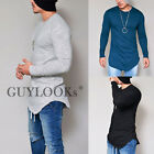 Pre Washed Mens Slim Fit Slub Cotton Crew Round Long Tee Tshirt by Guylook