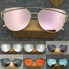 Women's Fashion Metal Frame Flat Lens Mirrored Oversized Vintage Sunglasses