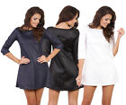 Womens 3/4 Sleeve Eco Leather Quilted Bodycon Dress 8/10 S M