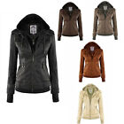 Hot Women's Collared Coat Motorcycle Outdoor Faux-Leather Slim Jacket 5 Color