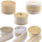 5M Natural Jute Burlap Hessian Ribbon with Lace Trims Rustic 6 Patterns