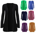 Womens Long Sleeved Drop Pocket Cardigan Sweater Ladies Open Casual Tops S-XL