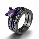 Princess Cut 6mm Amethyst 18k Black Gold GF Women Engagement Bridal Set Ring